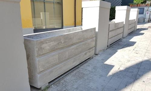 fioriere da appoggio in cemento installazione
